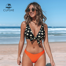 CUPSHE Daisy Knotted V Neck Bikini Sets Sexy Padded Cups Mid waisted Swimsuit Two Pieces Swimwear Women 2020 Beach Bathing Suits