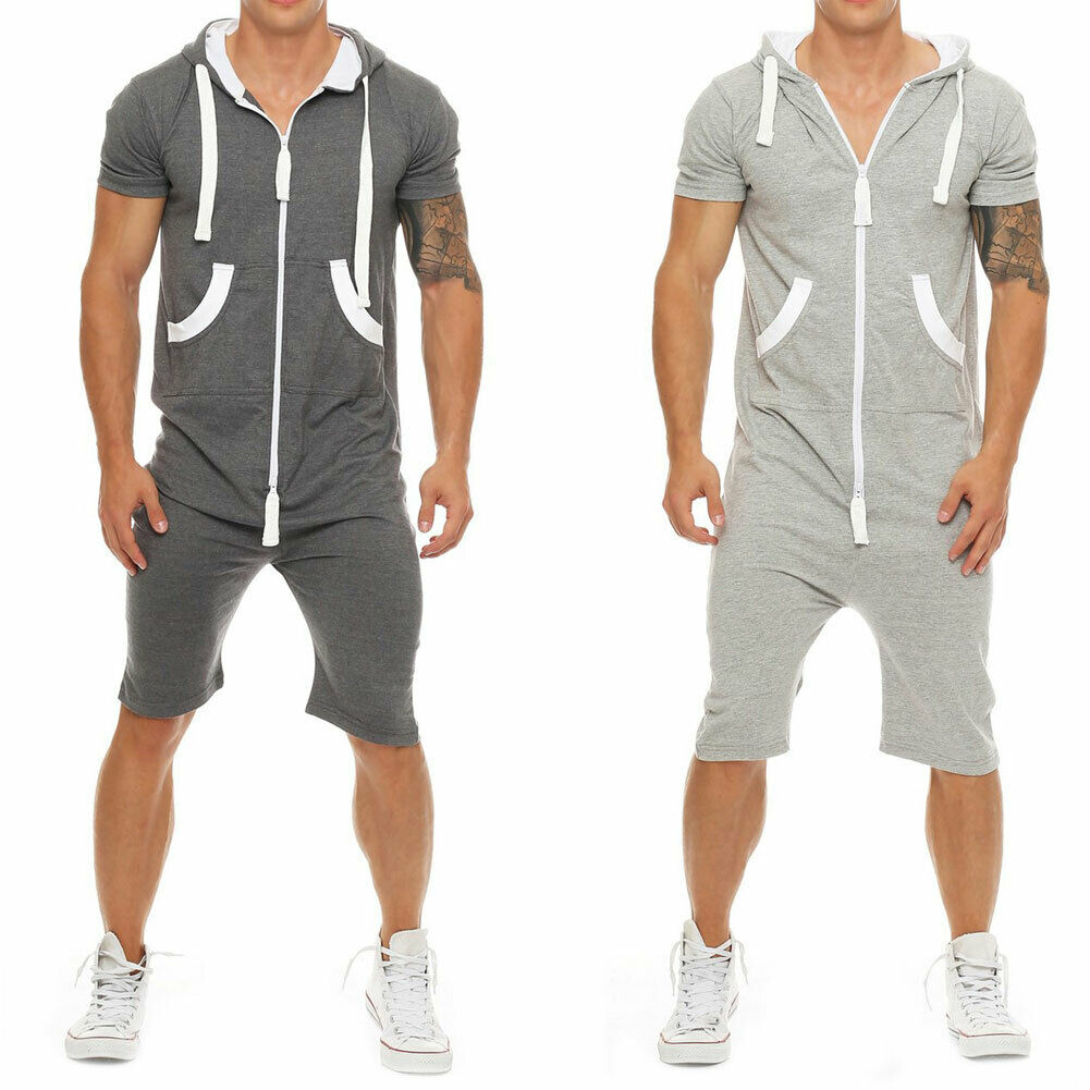 Hirigin Stylish Men Short Sleeve Shirts Pants Romper Jumpsuit One Piece Shorts Playsuits