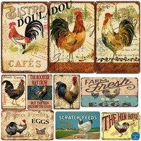 [Douladou] фермер курица винтажная металлическая жестяная вывеска Ретро Бидди яйцо табличка плакат петух тарелка украшение стены дома 30*20 см