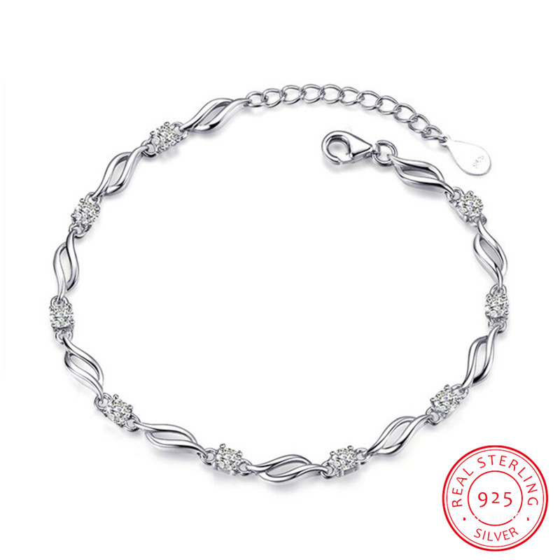 925 Sterling Silver Charm Bracelet For Decoration Fine Jewelry Cute Romantic Style Women Girls Party Engagement