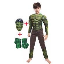 Детские Рождественские подарки на день рождения Халк Косплей мышечные костюмы включая маски Хэллоуин Детские костюмы с перчатками