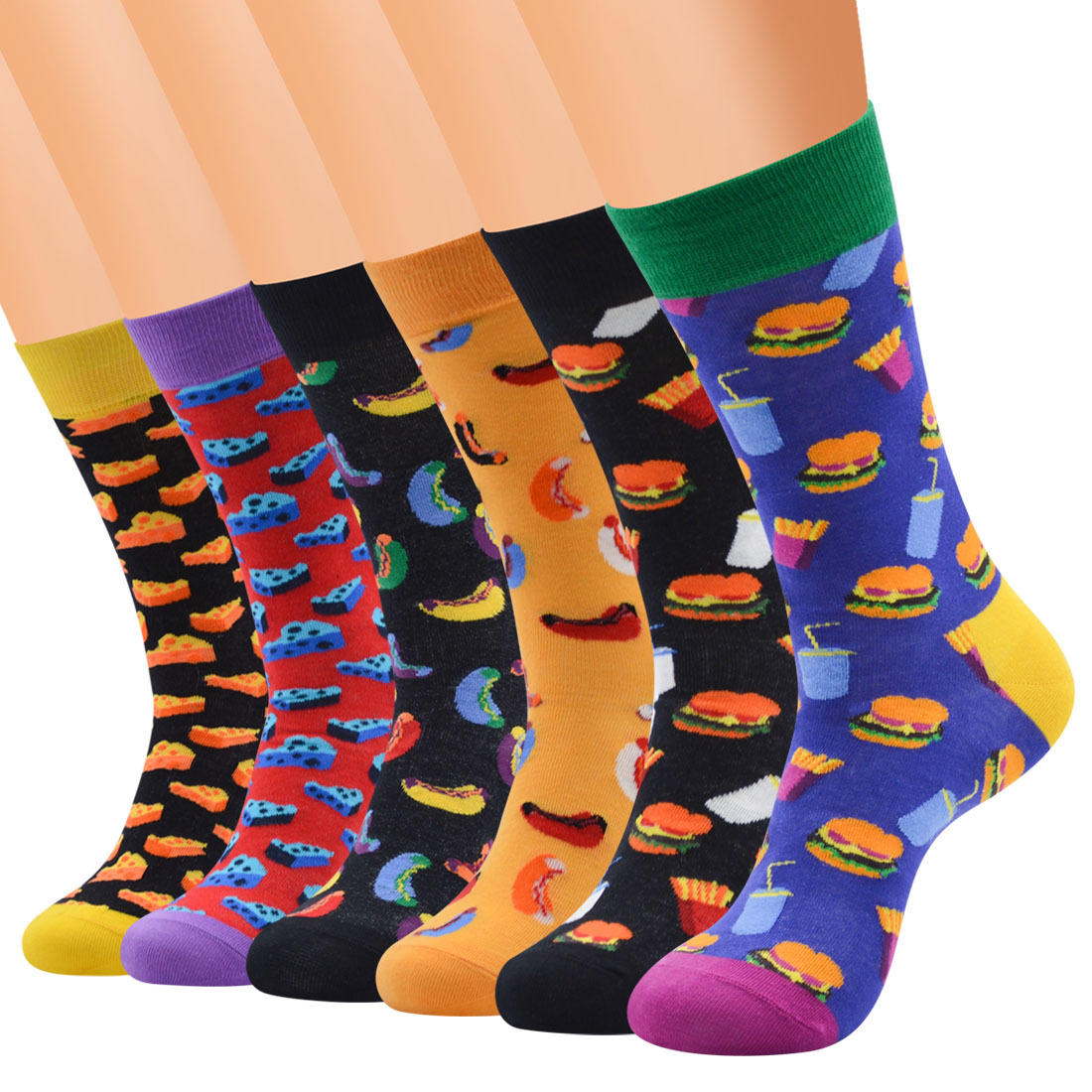 HUAYA 12 Pairs / A Dozen Fun Patterns Male Cotton Socks Cheese Burger Hot Dog Cola Chips Business Breathable Ins Stockings