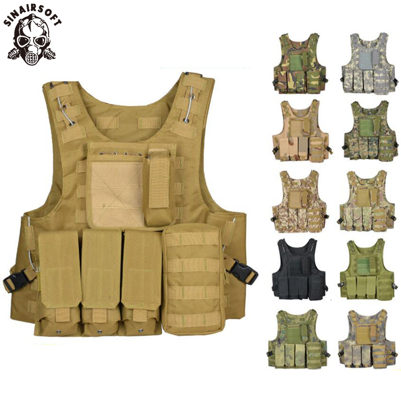 Tactical Vest Amphibious Battle Military Molle Waistcoat Combat Assault Plate Carrier Vest Hunting Protection Vests Camouflage