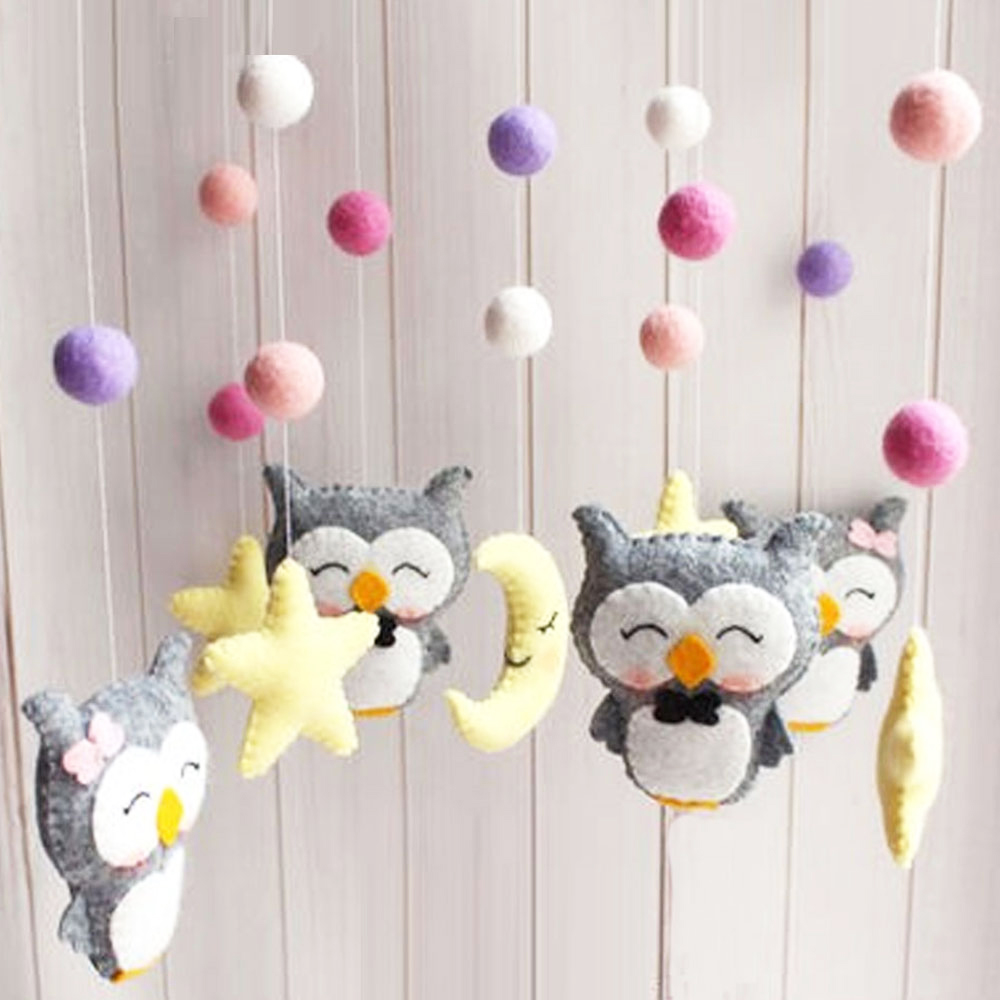 Baby Rattles Mobile To Bed Musical Rotating Toys Newborn Crib Bed Bell Pregnant Mom DIY Handmade Cartoon Animal Material Package
