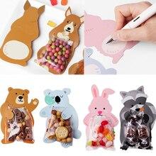 10 шт. милые Мультяшные животные Медведь Кролик конфеты сумки День рождения печенья мешок Подарочный мешок для детей день рождения конфеты Подарочный мешок