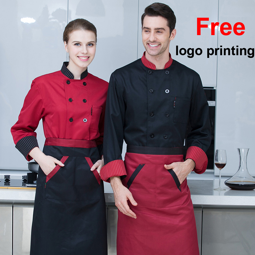Free Logo Printing Black White Red Color Solid Chef Coat Jacket Full Sleeve Breathable Bakery Waiter Restaurant Uniform