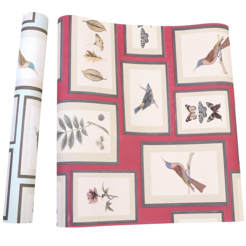 Bonne qualité britannique fleur et oiseau peinture cadre photo style nordique papier peint salon chambre porche TV fond mur