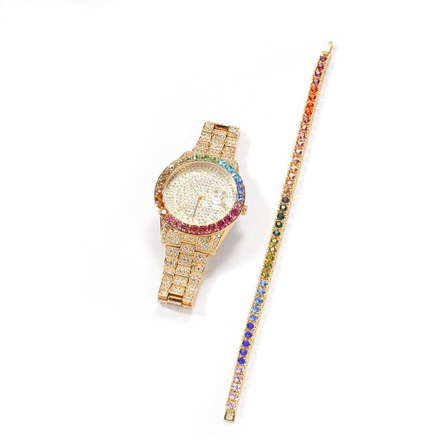 Reloj de cuarzo de acero inoxidable para hombre, cadena de eslabones de tenis, conjunto de 3 uds., joyería de Hip Hop 3