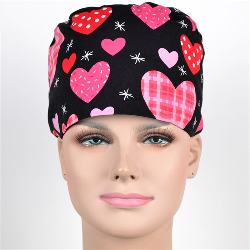 Big Heart Nurse Work Hat Surgical Scrub Caps 100% Cotton With Sweatband Hospital OR Doctor Working Hats Tieback Chef Cooking Cap