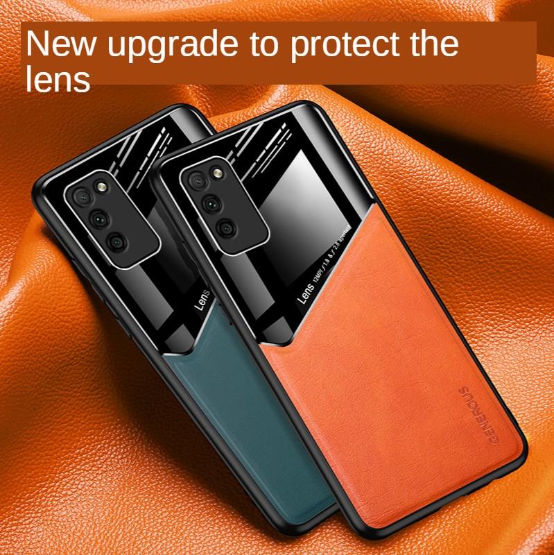 Magnetische Leather Glas Lens Bescherming Tpu Case Voor Huawei P30 P20 P40 Pro Lite 5G Nova 7 7SE 6SE 6 5 4 4E 3 3E Mobiele Telefoon Cover