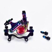 цена на MTB Colorful Bicycle Line Pulling Hydraulic Disc Brake Mountain Road XTECH Bike Hydraulic Oil Front&Rear Disc Brake Rainbow Set
