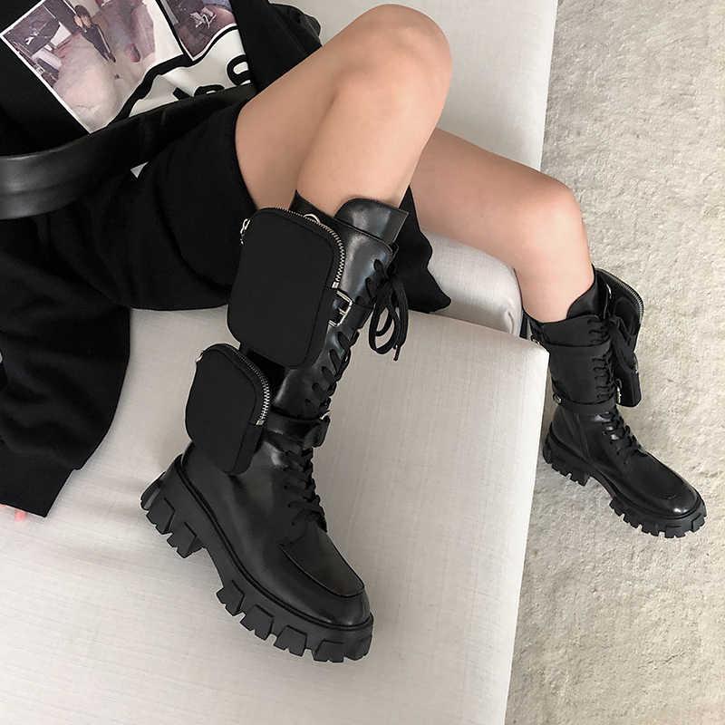 Hakiki deri düz Platform çizmeler kadınlar için ayrılabilir Mini çanta dekor Martin çizmeler serseri kalın alt siyah asker botu kadın