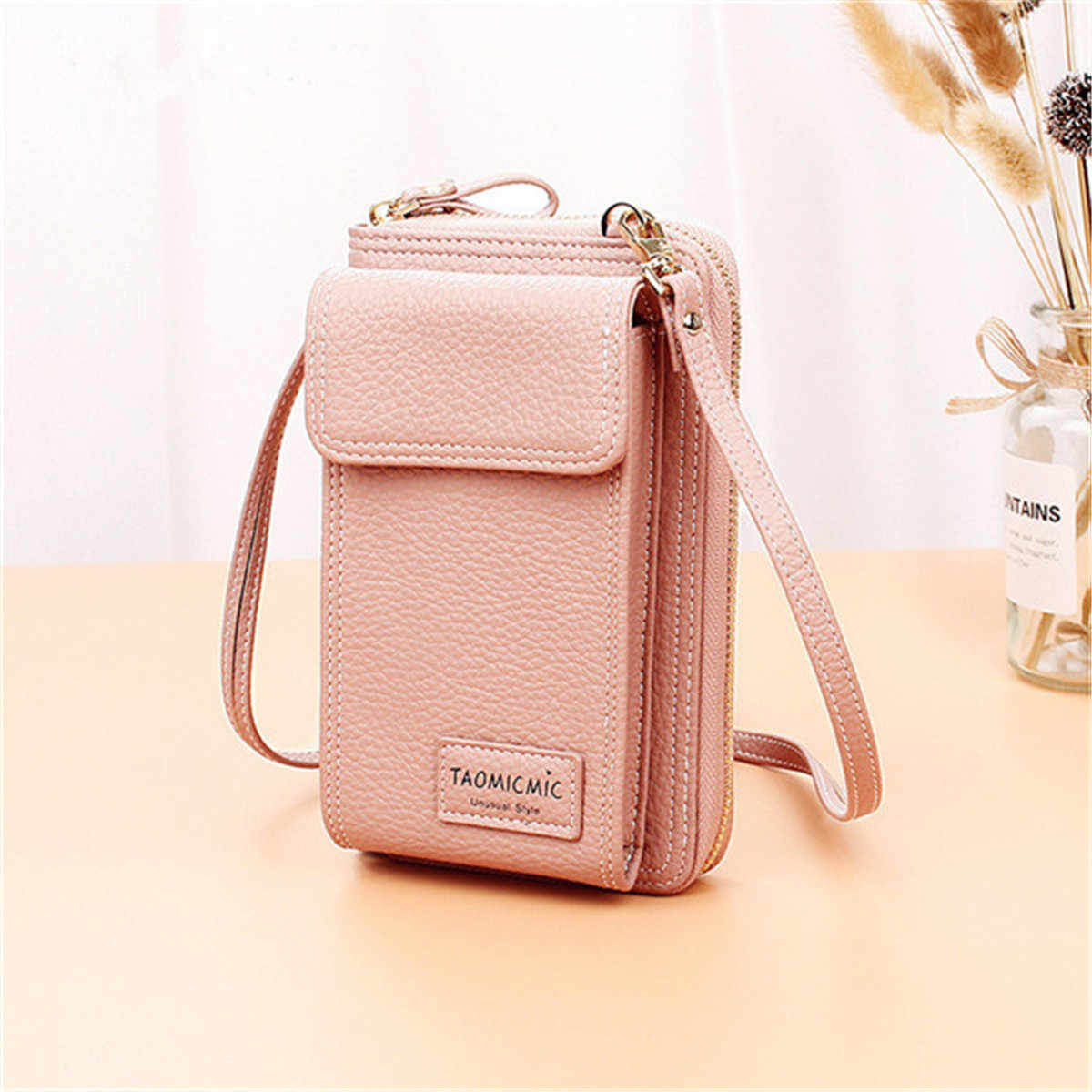 Ladies Solid Faux leather Clutch Bag Small Crossbody Bag For women Purses 4 Card Slot Card Bag Pink Green Mini Phone Bag