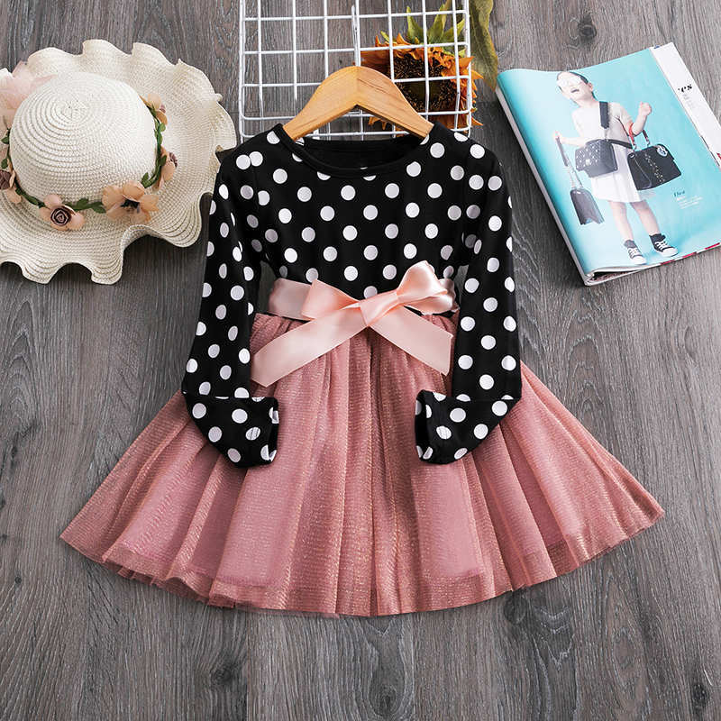 3 6 8 Years Long Sleeve Dress for Kids Girls Dot Autum Baby  Birthday Clothes  Winter Children Clothing Party Princess Dresses 2