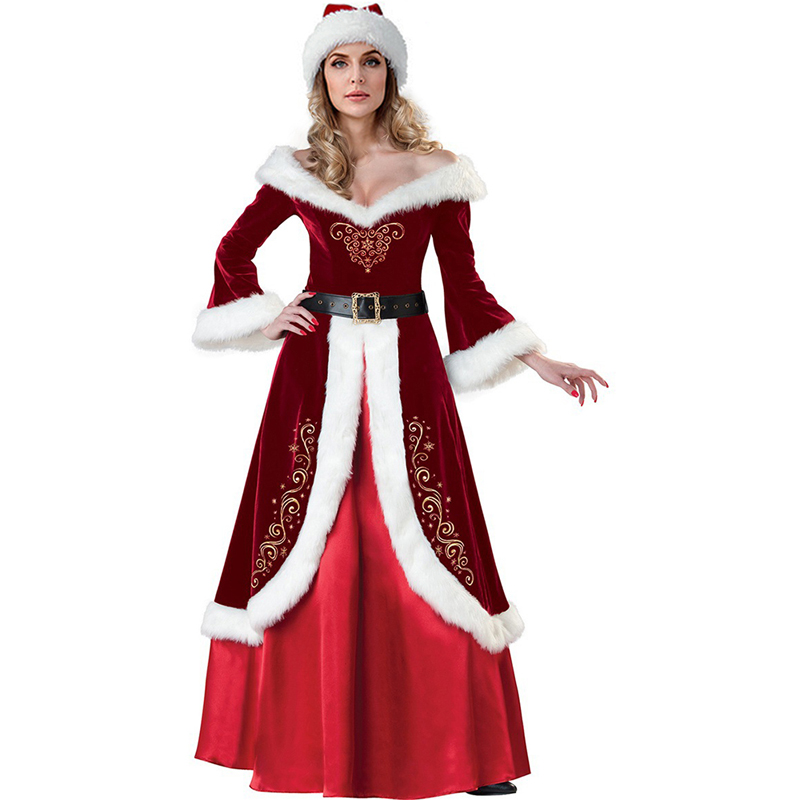 MoneRffi Mrs. Santa Claus Cosplay Costume Men Luxury Adult Sexy Women Cosplay Costume Red Christmas Dress And Hat Fancy Dress