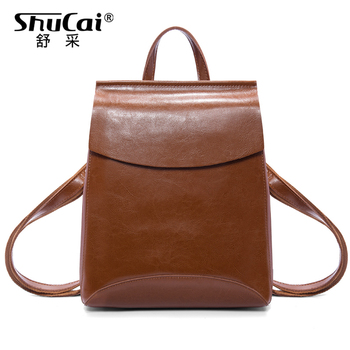 Backpack women genuine leather travel backpack solid color backpack  school bags for teenage girls fashion shoulder bag new arrival women backpack 100% genuine leather ladies travel shoulder bags preppy style schoolbags for girls knapsack holiday