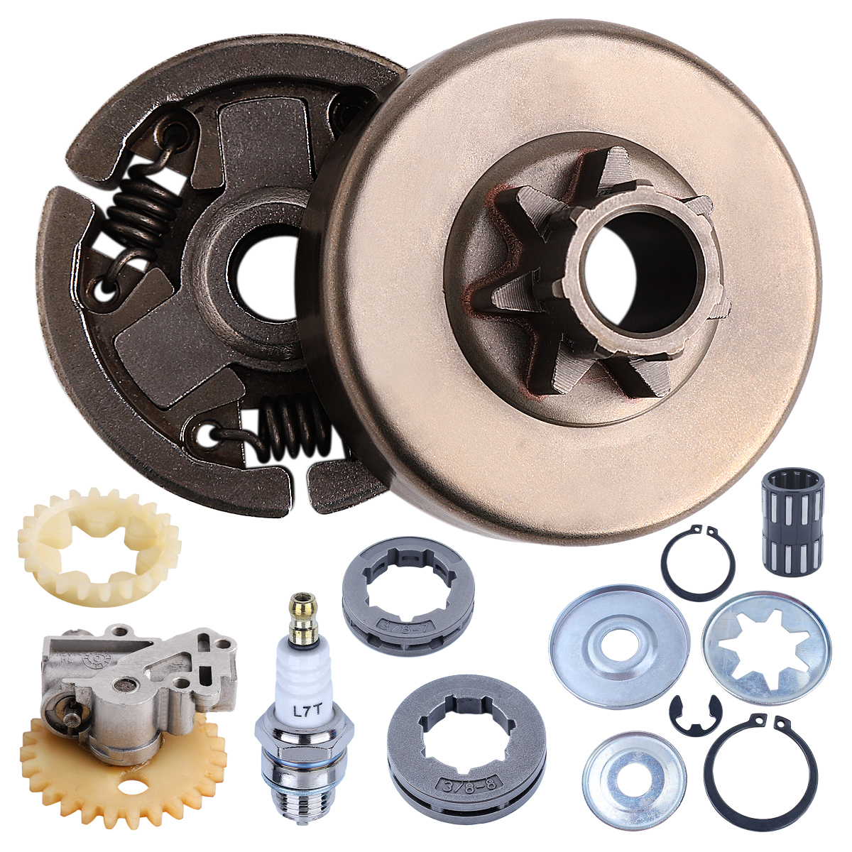 Clutch Drum Assy 3/8'' 7T 8T Sprocket Rim Oil Pump Washer Repair Kit For Stihl 038 038AV MS380 MS381 Chainsaw w Needle Bearing