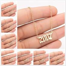 Venda quente novo original comemorando número do ano colar de aço inoxidável para mulheres meninas pingente colar jóias comemorat presente