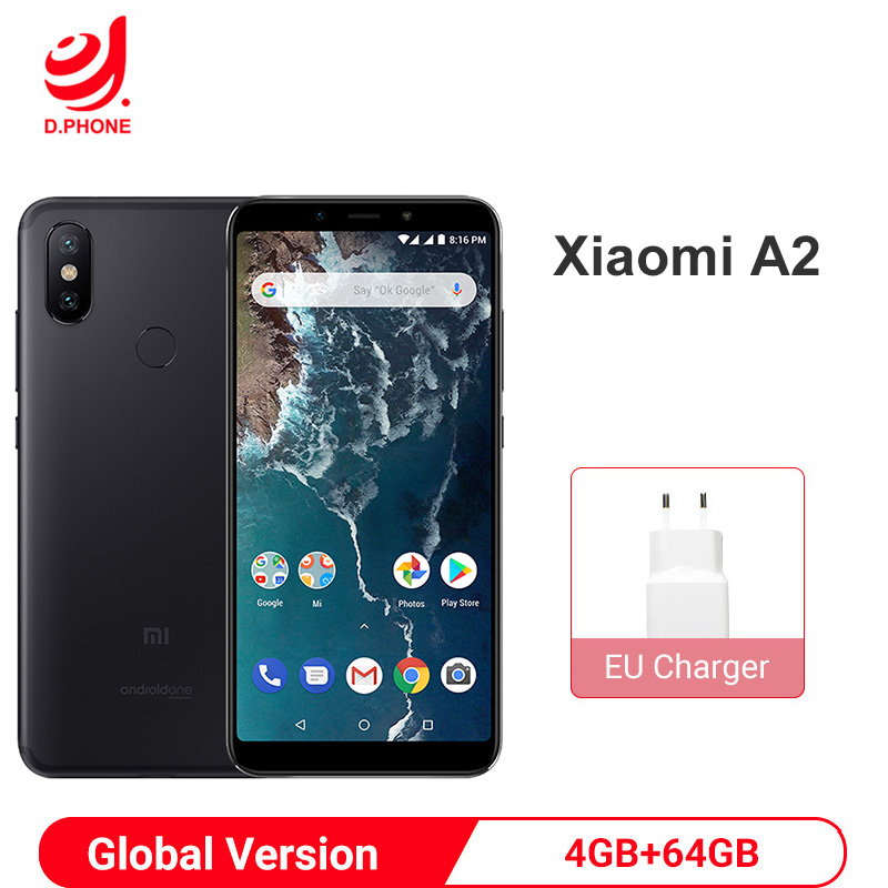 Global Version Xiaomi Mi A2 4GB 64GB Android One Snapdragon 660 Octa Core 20.0MP AI Dual Camera 5.99