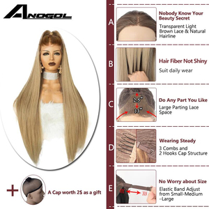 Image 4 - Anogol High Temperature Fiber Peruca Long Straight Synthetic Hair Wig Brown Ombre Ash Blonde Swiss Lace Front Wigs for Cosplay
