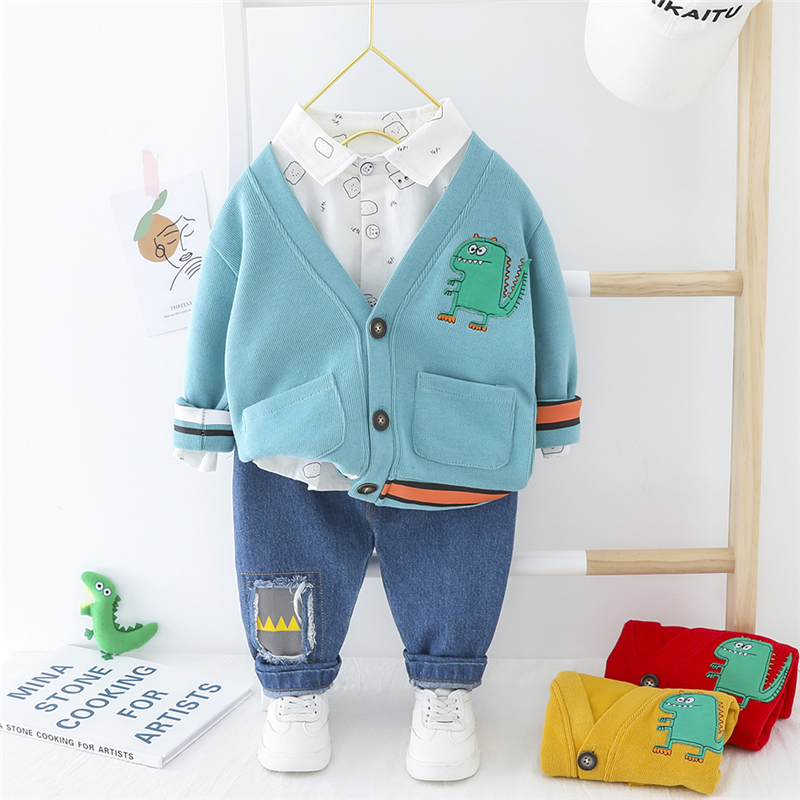 HYLKIDHUOSE 2020 Spring Autumn Infant Clothing Sets Cartoon Coats Shirt Pants Boys Casual Clothes Toddler Baby Vacation Costume