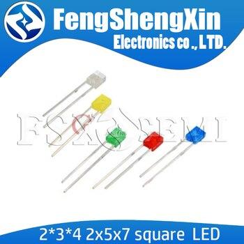 100 sztuk 2*3*4/2*5*7 plac dip led 2x5x7 2x3x4 czerwony żółty zielony niebieski wysokiej jakości koralik dioda elektroluminescencyjna
