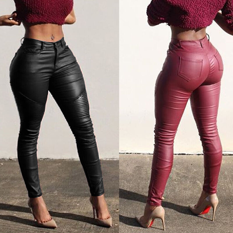 Goocheer NEW Fashion Sexy Women Slim Leather Pants Skinny Stretchy Pencil Pants High Waist Pants PU Leggings