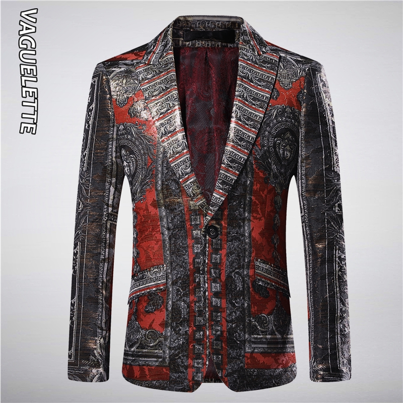 Vaguelette Golden Luxury Men's Blazers And Suit Jacket Slim Fit Medusa Pattern Luxury Brand Floral Print Stage Wear Mens Blazers
