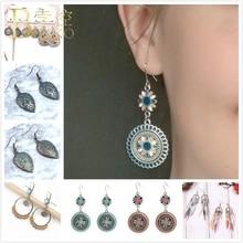 BOAKO Vintage Flower Earrings For Women Boho Tassel Earring Set Enamel Big Drop Girl Feather aretes Femme Z5