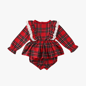 Automne hiver enfants nouveau ensemble de tissu nouveau-né enfant en bas âge bébé fille mignon Plaid dentelle barboteuse robe combinaison + tenue courte