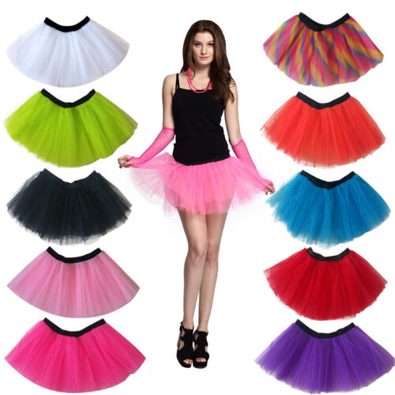 Women Adult Sweet Tutu Skirts 3 Layered Mesh Organza Club Wear Mini Princess Skirt Girls Pettiskirts Women's Costume Party Skirt