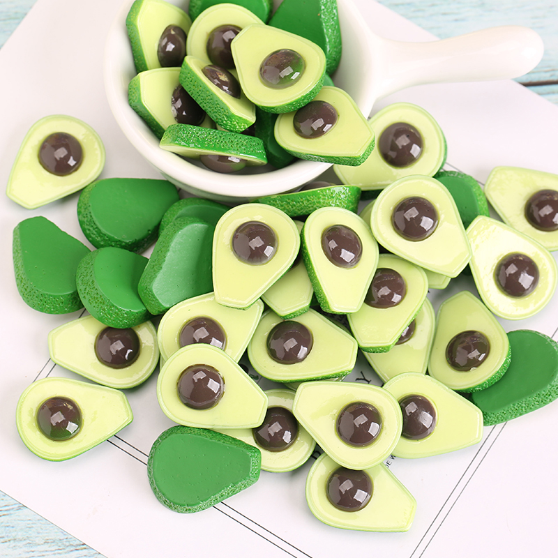 Boxi  Avocado Slime Additives Charms Resin Fruit Supplies Accessories DIY Decor Filler For Cloud Clear Slime Clay Toy In Stock
