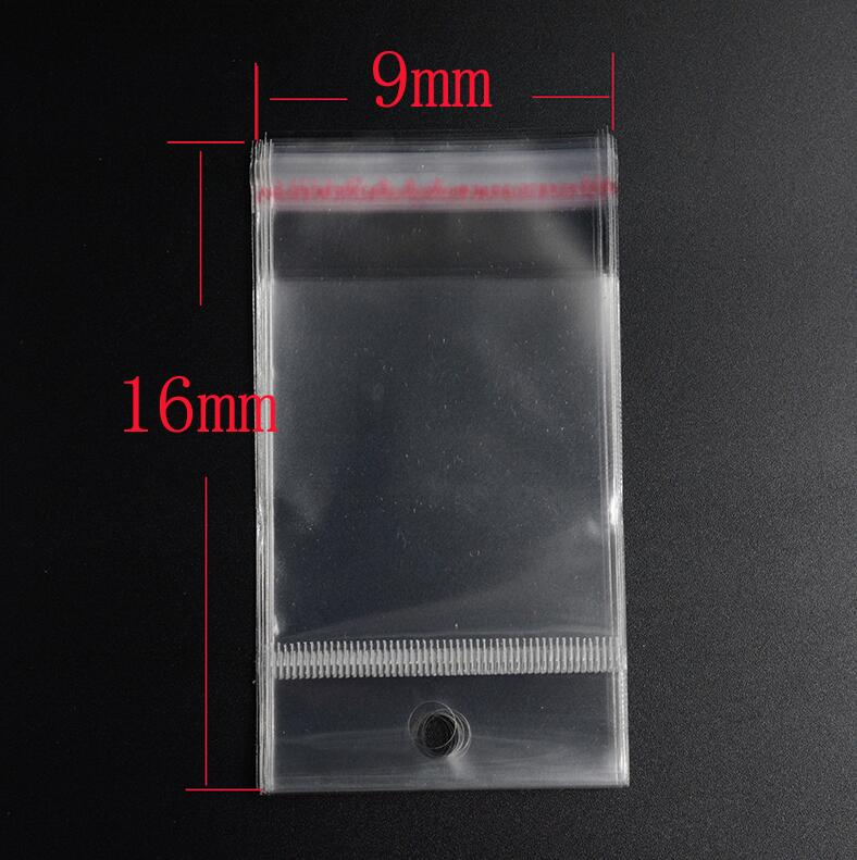 Pouches 9cm*16cm  Hanging Holes  Clear Self Adhesive Seal Plastic Bags Usable Space Transparent Plastics Packing Bags