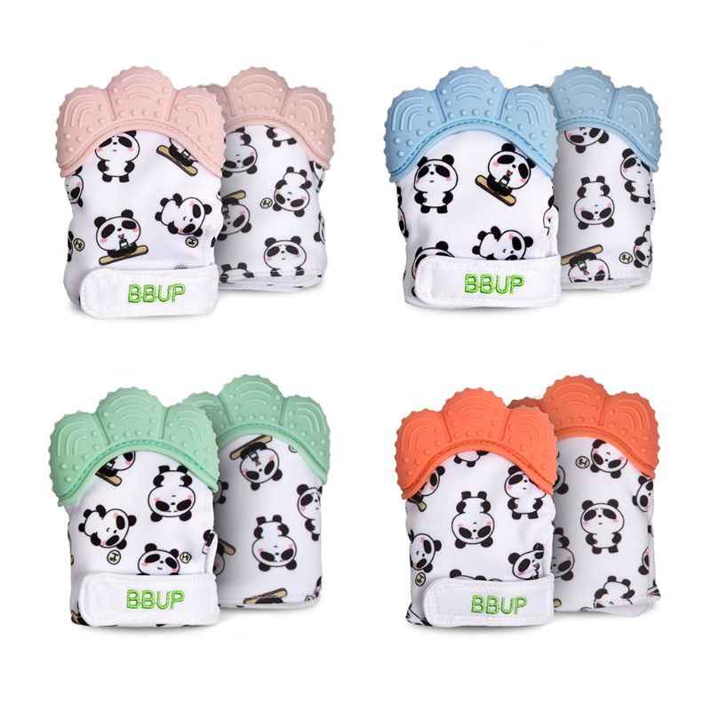 OOTDTY 2pcs/pack Cute Panda Teething Mittens for Baby Newborn Teether Gloves Infant Baby Teether Toy Baby Products