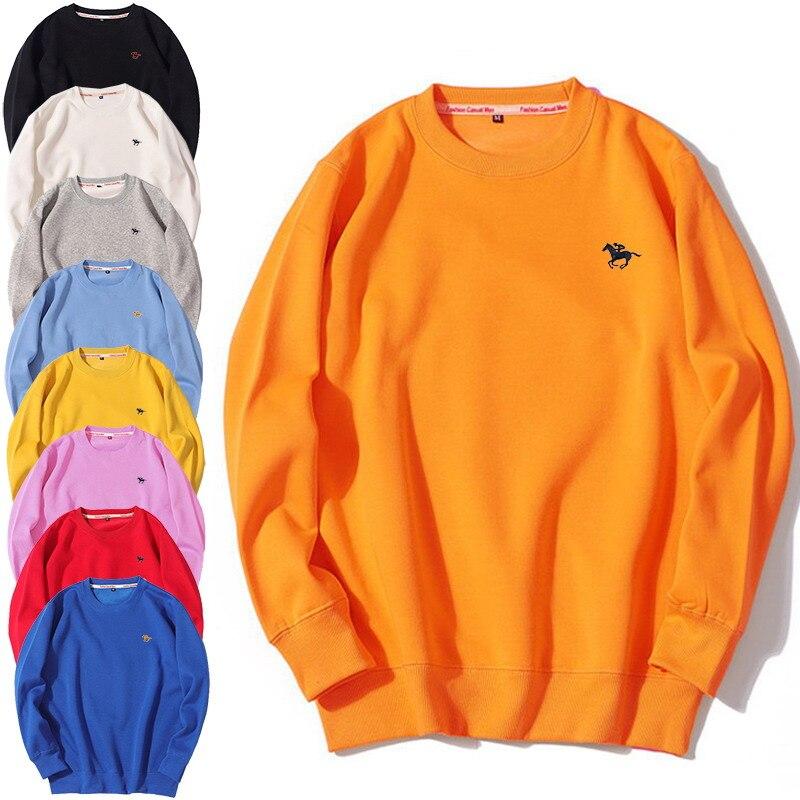 9 Color Spring Autumn Men's Sweatshirts Loose Casual Korean Silver Fox Velvet Polo Logo Round Neck Long Sleeve Men's Hoodies W1