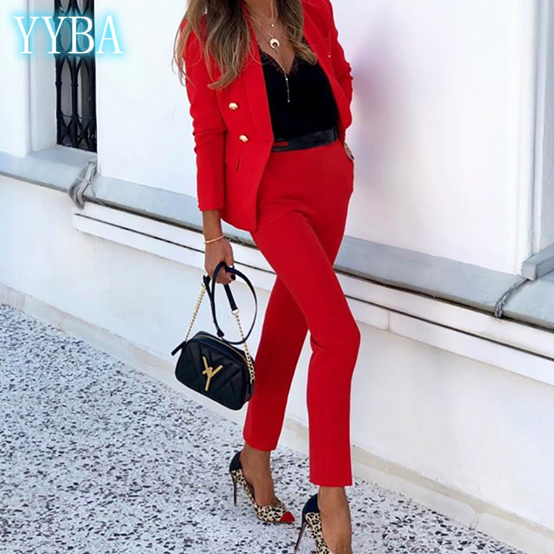 Suit Long Sleeve Elegant Vintage Retro Pure Color  Women's Clothing Office Lady Two Piece  Trendy Business Cotton Buckle YYBA