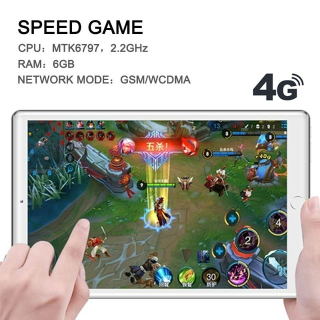 New 10 Inch 6G+128GB Tablet Ten Core 4G Network WiFi Tablet PC Android 9.0 Screen Dual SIM Dual Camera Rear  Kids Tablet 4