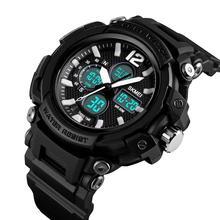 SKMEI Sport Men Watch Dual Display Quartz Digital 3Time Multl-Function Luminous 5Bar Waterproof часы мужские 1498