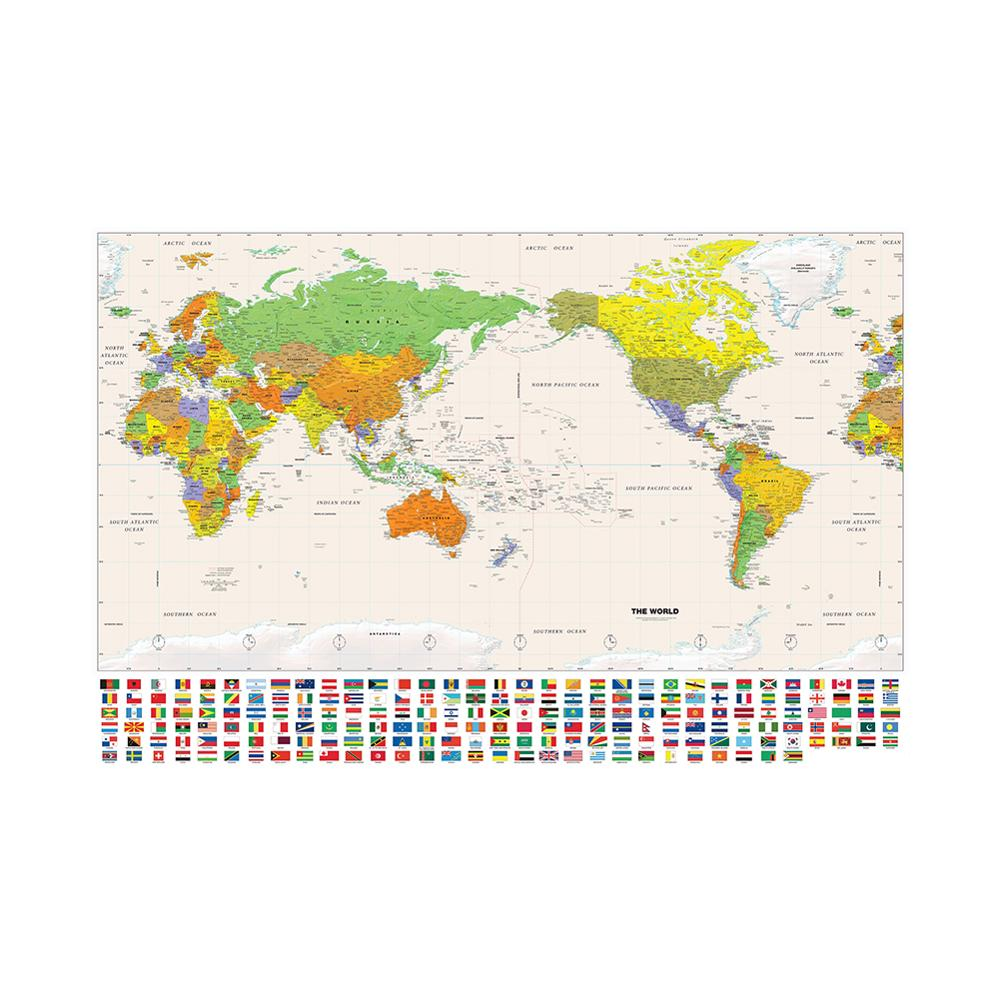 150x225cm Non-woven Detailed Map Of Major Cities In Each Country Physical Map Of The World With National Flag