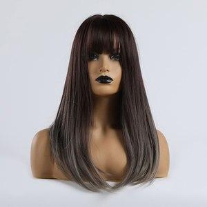 Image 5 - ALAN EATON orta düz isıya dayanıklı sentetik saç peruk Ombre siyah kahverengi sarışın gri kadın parti Cosplay Lolita Bobo peruk