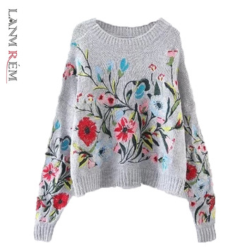 LANMREM 2021 Korean Autumn Winter fashion new solid color round collar full sleeve loose embroidered sweater women V74702 1