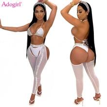 Adogirl-Conjunto de 3 piezas Sexy para mujer, Top + bragas + pantalones pitillo de malla transparente, trajes de Club nocturno, ropa de fiesta, 2020