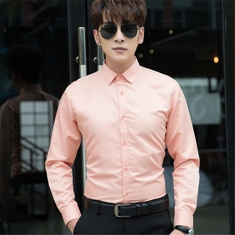 2020 new autumn long-sleeved shirt male black white gray slim large size casual shirt male large size solid color shirt