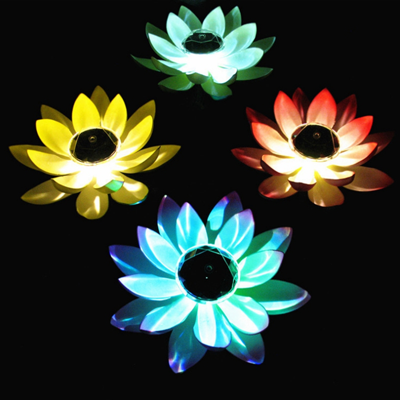 Solar Powered LED Lotus Flower Lamp Water Resistant Outdoor Floating Pond Night-Light For Garden Pool Party Garden Decoration PY