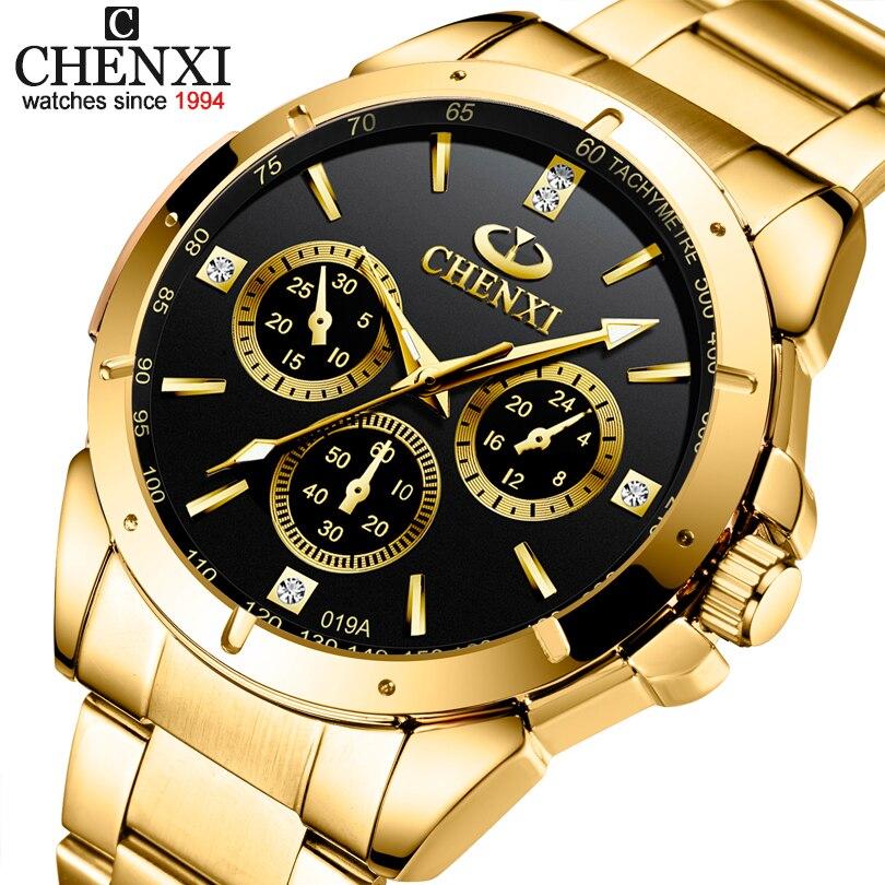 Relógios de Quartzo dos Homens para Mulheres Relógios de Pulso de Ouro Superior de Luxo Relógio de Aço Chenxi Amantes Marca Feminino Masculino Ipg Dourado