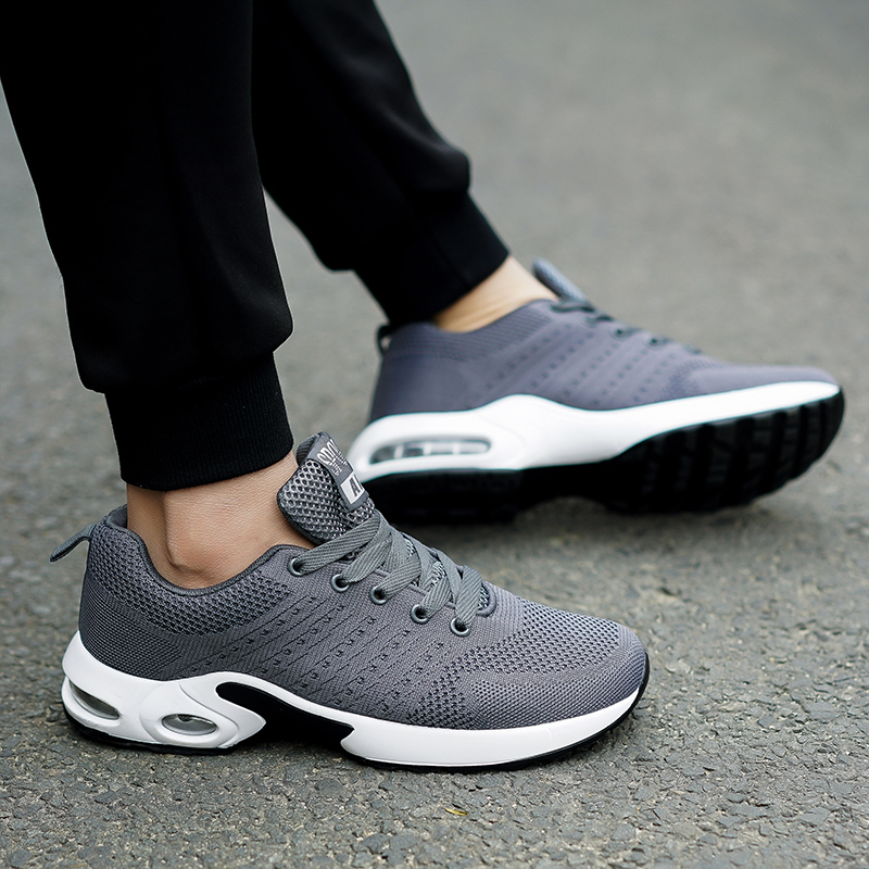 Men Air Cushion Running Shoes Light Breathable Lazy Leisure Fitness Shoes Comfortable Non-slip Height Increasing Male Sneakers