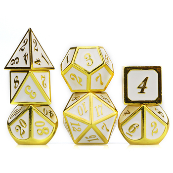 Dnd dice set metal dice set polyhedral dice set custom dice d&d dice gold white dice rpg dice with bag d4 d6 d8 d10 d12 d20 10pcs d10 sided polyhedral dice for tabletop rpg world of darkness vampire set of 10 d10