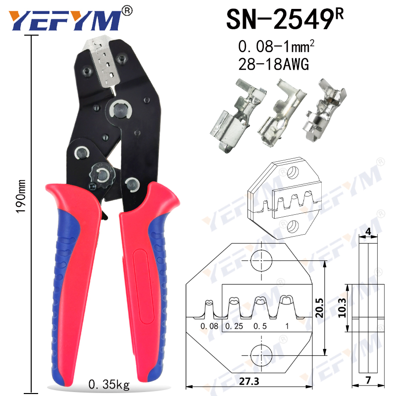Tools : Crimping Pliers SN-2549 8 Jaw Kit Package for 2 8 4 8 XH2 54 3 96 2510 tube insuated Terminals Electrical Clamp Mini Tools