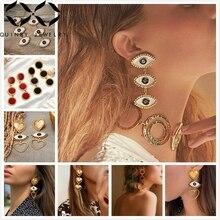 Quinby Long Drop Earrings For Women Heart Dangle Street Trendy Evil Eye Earring Red Enamel Girl Party aretes Q5