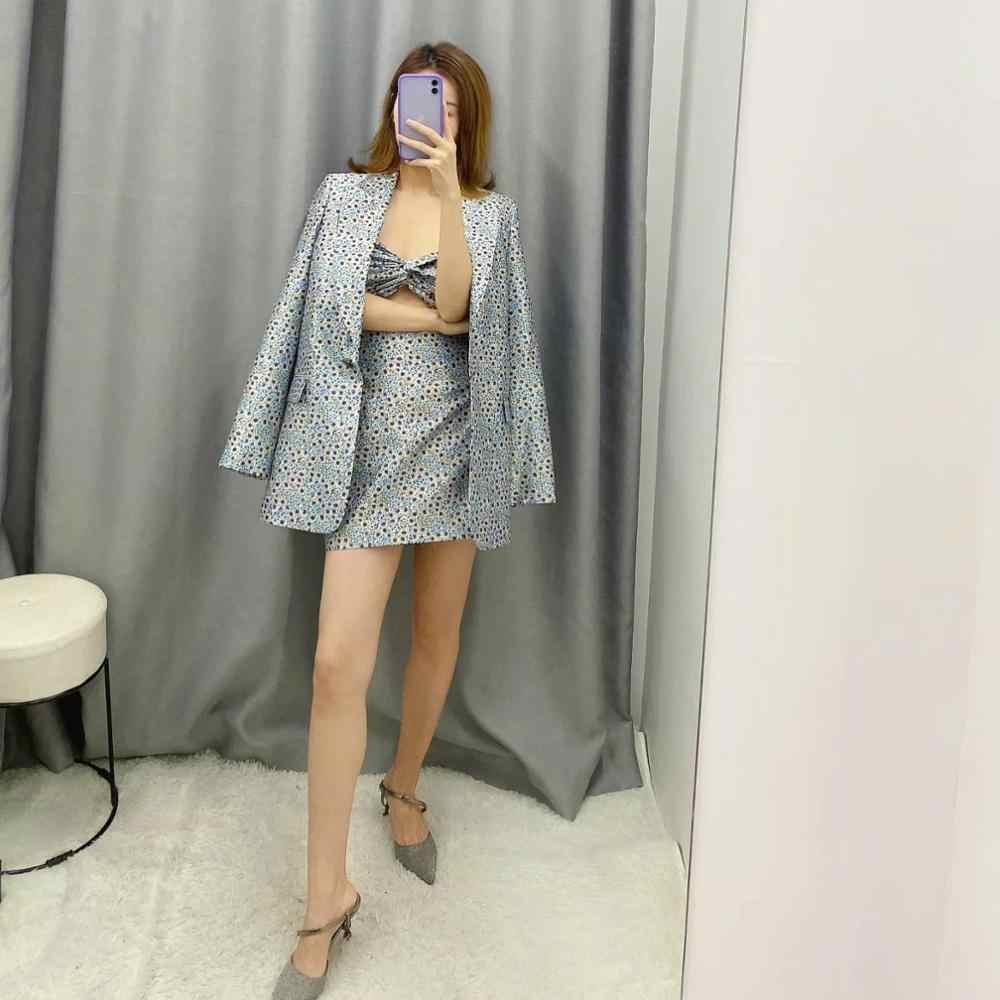 ZA nuovi vestiti delle donne di tre pezzi set fiore stampato giacca sportiva e stampato mini gonna a vita alta e canotta